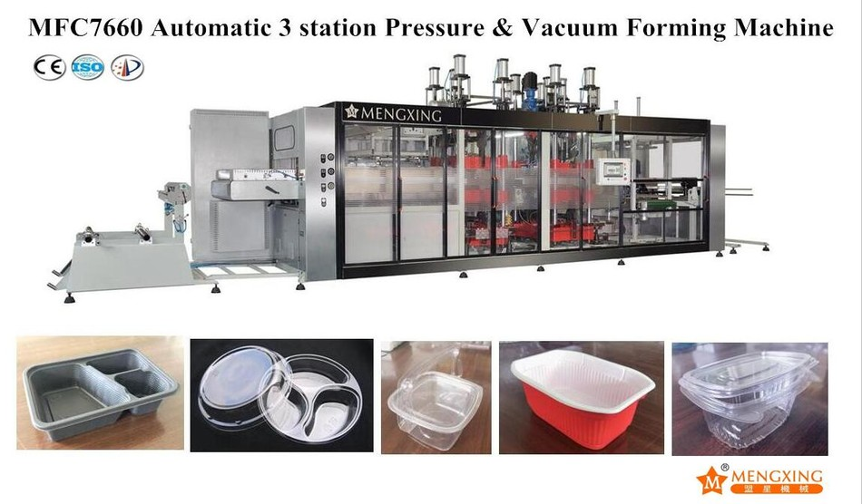 Fully-auto Vacuum Pressure Forming Machine 3 Station Mengxing MFC7660